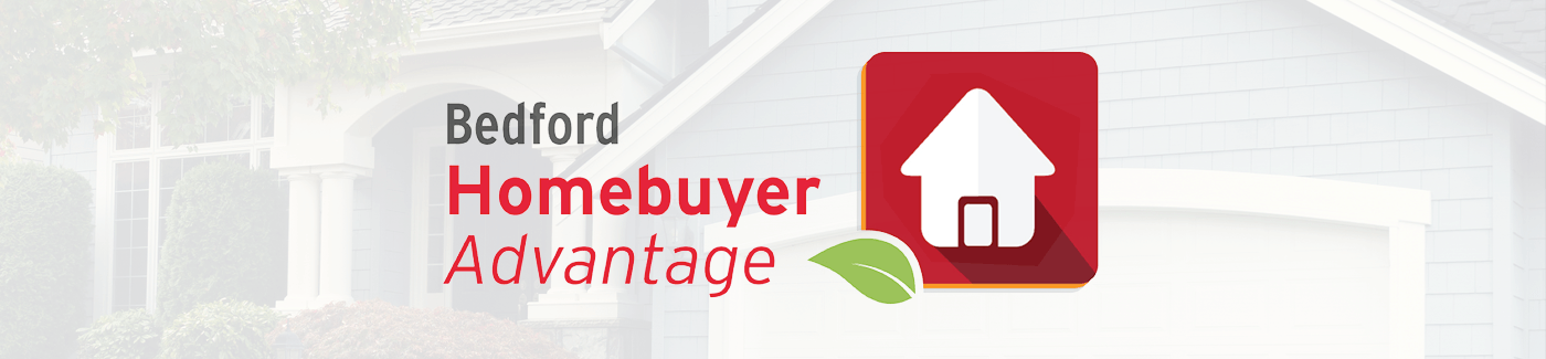 Logo for Bedford Homebuyer Advantage program with faded house image behind the logo.