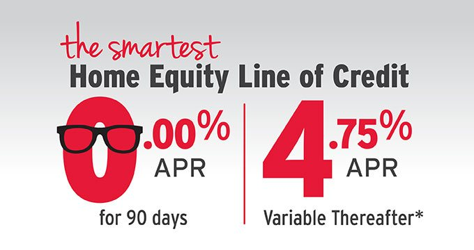 The smartest Home Equity Line of Credit 0.00% APR for 90 days, 4.75% APR variable thereafter