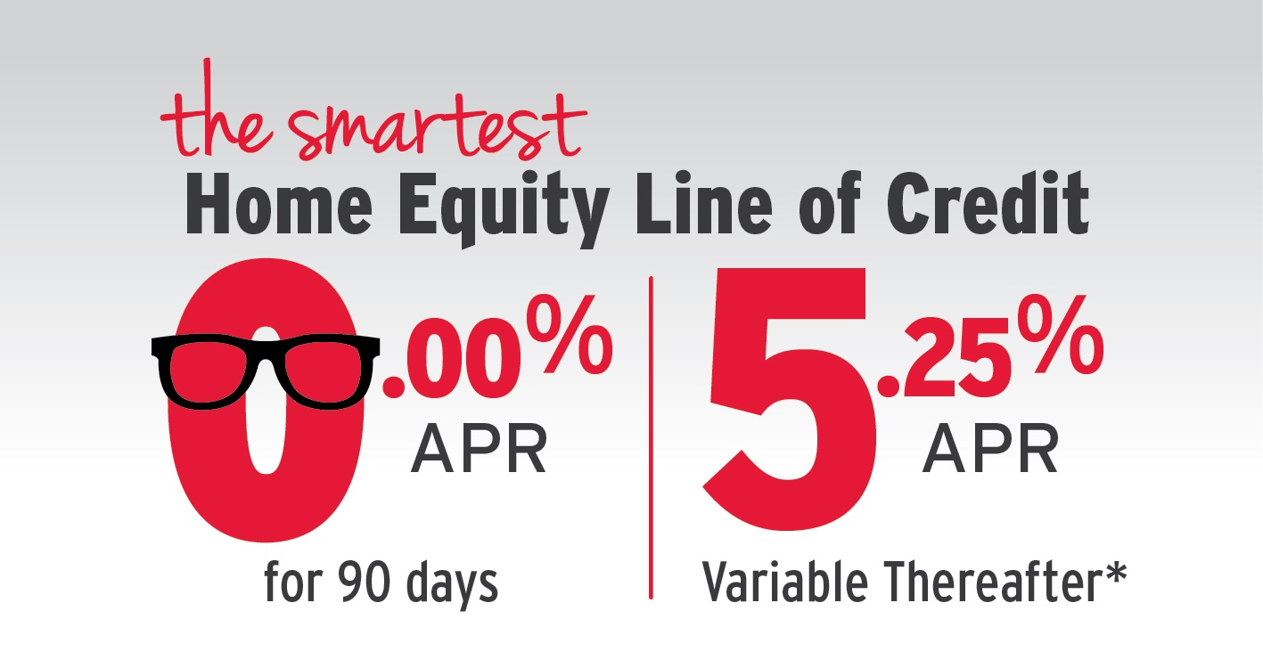 The smartest Home Equity Line of Credit 0.00% APR for 90 days, 5.25% APR variable thereafter
